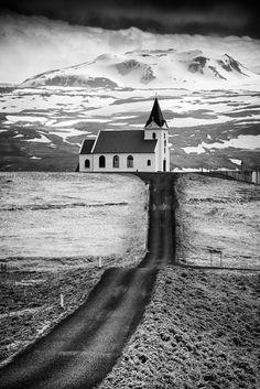 Iceland Ingjaldsholl Church And Mountains Black And White Print by Matthias…