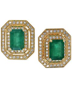) and Diamond ct.) Button Earrings in Gold - Green Emerald Green Earrings, Diamond Drop Earrings, Emerald Earrings, Diamond Stud, I Love Jewelry, Gold Jewelry, Vintage Jewelry, Jewelery, Buy Earrings