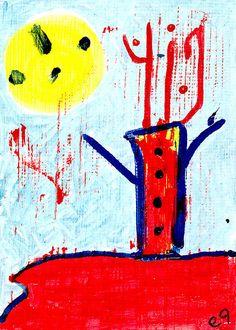 shaman vision i e9Art ACEO Outsider Art Brut Painting Original OOAK #OutsiderArt