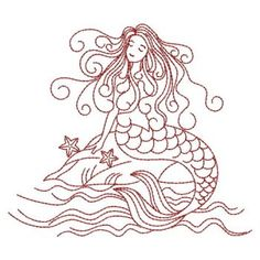 Embroidery Designs - Redwork Mermaids(Lg)