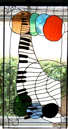 Pair Stained Glass Music Panels Fantasy Modern MODERNIST contemporary white black blue green gold piano bass