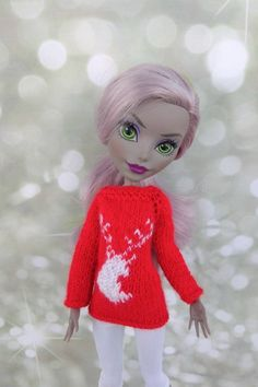 Matching Christmas sweaters with deer. Doll clothes for 12 Matching Christmas Sweaters, Matching Sweaters, Monster High Doll Clothes, Monster High Dolls, Christmas Deer, Christmas And New Year, Boy Doll, Custom Dolls, Red Sweaters