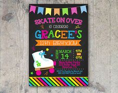 Roller Skating Birthday Party Invitation by PokeysPrettyParties
