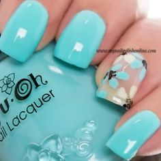 Nail Art Sunday – Summer - My Nail Polish Online~ The turquoise polish is Nfu-Oh MOR The light yellow is Kicks – Lemon Grass Get Nails, Fancy Nails, Pretty Nails, Aqua Nails, Turquoise Nail Art, Nail Polish Online, Nails Polish, Flower Nails, Creative Nails