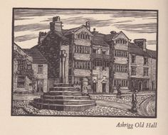 The Sylver Zone is pleased to offer:  Askrigg Old Hall in Wensleydale, a wood engraving print.  A vintage print, circa 1936. Unmounted. Image size