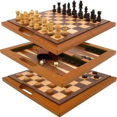 Deluxe Wooden 3-in-1 Chess, Checker & Backgammon Set - Includes Bonus Deck of Cards!