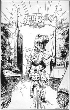 detailed printable high resolution free clipart jurassic park ... - Lego Jurassic Park Coloring Pages