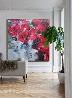 CZ Art Design - Abstract Flower Oil Painting, large abstract floral art, red roses textured painting @CelineZiangArt #OilPaintingFlowers