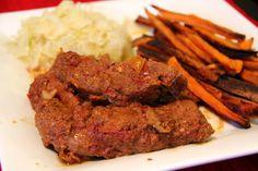 i heart paleo: bbq country style pork ribs, sweet potato fries & sauerkraut