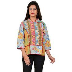 Jaipur Textile Hub Very Rare Vintage Anokhi Short Kantha Kimono Jacket Reversible ( JTH-NJ-111 ) ( Size: 59 54 41 CM )