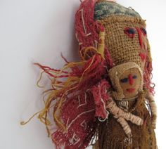 Old Vintage Peruvian Textile Burial Doll - Mother & Child Made with Mummy Cloth Fragments, Indigenous Reproduction of Pre-Columbian Original...