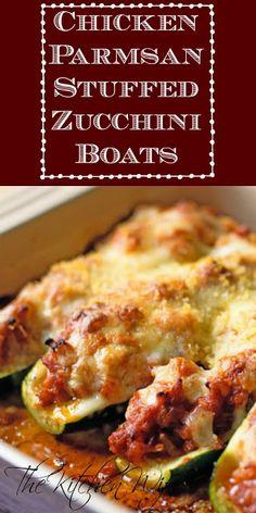 Chicken Parmesan Stuffed Zucchini Boats Recipe - The Kitchen Wife Chicken Zucchini Boats, Zucchini Boat Recipes, Stuffed Zucchini Recipes, Stuffed Zuchini Boats, Zuchinni Boat, Chicken Zucchini Casserole, Recipe Zucchini, Zucchini Fries, Gastronomia