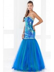 Printed Sequin/Tulle Modified Sweetheart Floor-length Prom Dress