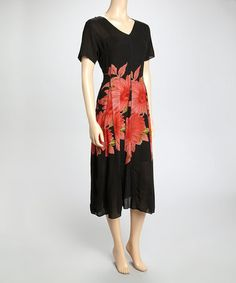Look what I found on #zulily! Black & Red Floral Seamed Dress by La Cera #zulilyfinds