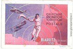 VINTAGE-POSTCARD-AVIATION-FRANCE-PELOTA-VASCA-1936