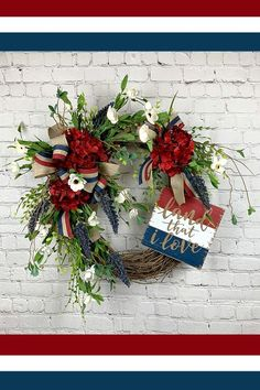 Patriotic Wreath Patriotic wreath created by Trendy Tree Marketing Group member Grapevine and Blooms. You can buy it in her Etsy shop. The post Patriotic Wreath appeared first on Holiday ideas. Wreath Crafts, Diy Wreath, Grapevine Wreath, Burlap Wreaths, Yarn Wreaths, Door Wreaths, Tulle Wreath, Wreath Ideas, Wreath Making