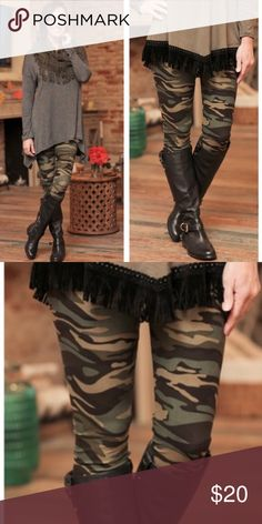 ⚜Camo Leggings⚜ Infinity Raine soft, stylish and comfortable legging in camo. 92% polyester 8% spandex⚜One size fits small to large and comfortably up to size 12⚜Photo Credit: Infinity Raine Infinity Raine Pants Leggings