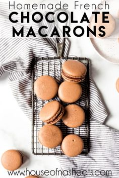 These indulgent Chocolate Macarons are filled with chocolate ganache and easier to make than you would think! Don't be intimidated by this French dessert. Chocolate Macaron Recipe, Best Macaron Recipe, Chocolate Ganache, Chocolate Macaroons, French Macaroon Recipes, French Macaroons, French Chocolate, Best Chocolate, Fun Desserts