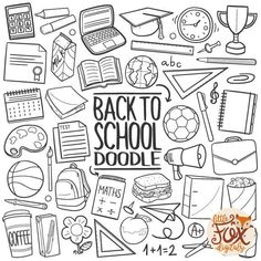 Vector School Learning Friends Teacher Back to School Doodle Icons Clipart Scrapbook Set Coloring Hand Draw Line Art Scrapbooking PNG - - School Doodle, Chalk Drawings, Doodle Drawings, Doodle Art, Doodle Frames, School Icon, School Subjects, Sketch Notes, Bullet Journal Inspiration