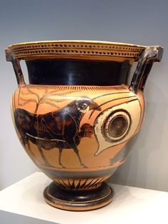 Black Figure column Krater depicting Odysseus Escaping from the Cyclops's Cave Greek made in Athens 550-500 BCE terracotta