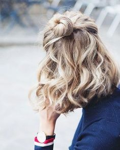 Pinterest: iamtaylorjess | Curls and half up bun for short hair style