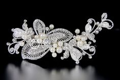 Pearl Bridal Hair Clip with Vintage Rhinestone Leaves from Cassandra Lynne