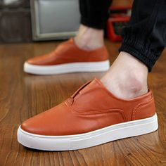 Fashion Office Shoes For Men Platform Sneakers -oxford Loafers Casual Chaussure Homme Mocassin Size 39 to 44 Black Orange White