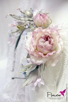 """Купить Ободок для волос - """"Любава"""" в стиле рустик. Цветы из шелка. - коралловый, розовый, цветы из шелка"""