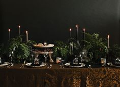 Channel the Addam's Family and bring elegant drama to your Halloween tablescape.