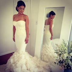 Mermaid Wedding Dresses With Feather Bottom - short embellished ...