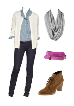 Nice, Comfy and Simple: Jeans, Shirt and a Sweater, accessorized with a scarf and shoes...we can forget about the belt.