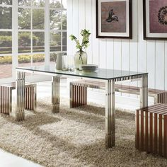 GRIDIRON STAINLESS STEEL DINING TABLE IN SILVER - Mocofu