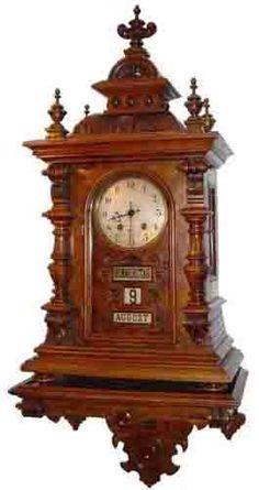 Calendar Clock Hourglass Time: Lovely antique wall clock with calendar. Unique Clocks, Cool Clocks, Antique Clocks For Sale, Vintage Clocks, Clock Tattoo Design, Radio Antigua, Classic Clocks, Clock Shop, Wall Clock Online