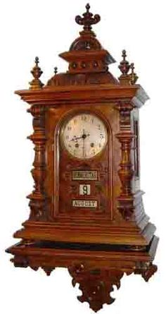 Calendar Clock Hourglass Time:  Lovely antique wall clock with calendar.