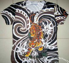 Tiger Irezumi Japan Art Print Biker Tattoo T Shirt Misses Cap Sleeve Size S | eBay