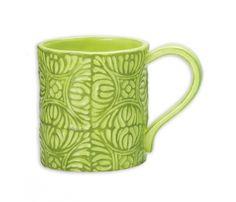 Antique Tile Mug   Magenta   Home Decor and Ceramics