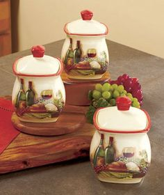 --- 3-Pc. Vineyard Canister Set Wine Themed Kitchen Decor on eBay!