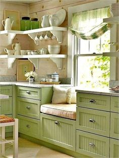 Small Kitchen Designs Green Beautiful Kitchen Designs : Beautiful Kitchen Designs for Small Kitchens – Better Home and Garden - Smart, stylish, and space-saving ideas for decorating the heart of the home. Beautiful Kitchen Designs, Beautiful Kitchens, Cool Kitchens, Small Kitchens, Colorful Kitchens, Retro Kitchens, Beach Cottage Kitchens, Small Farmhouse Kitchen, Country Farmhouse