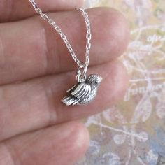 Tiny Little 3-D Bird Necklace Sterling Silver Charm by DJStrang