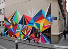 Faceted blocks of color make a perfect mural!