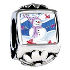 Snowman With Birds Photo Flower Charms  Fit pandora,trollbeads,chamilia,biagi,soufeel and any customized bracelet/necklaces. #Jewelry #Fashion #Silver# handcraft #DIY #Accessory
