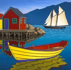 """Off to Sea"" - Graham Herbert Canadian Painters, Canadian Artists, Pictures To Paint, Art Pictures, Seascape Art, Boat Art, Boat Painting, Naive Art, Beautiful Paintings"