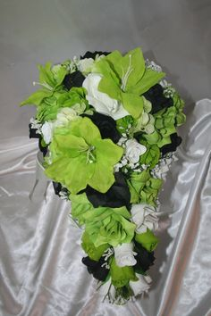 lime green silver and black wedding | Bridal Bouquet Package Lime Green Black Silk Wedding Flower