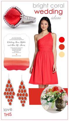 Bright coral wedding ideas!