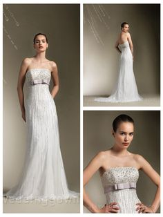 Charming Beaded Strapless A-line Floor Length Wedding Dress with Sweep Train