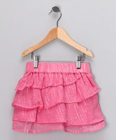 Take a look at this Pink Tiered Skirt - Girls by Dollhouse on #zulily today!
