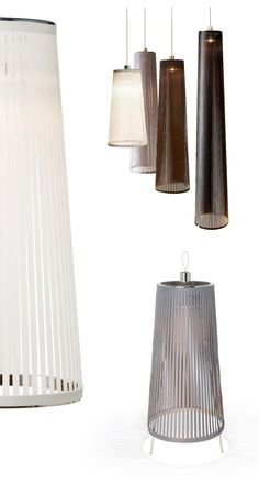 "These are pretty.  Downlight and ""rays"" cast by the soft, slatted shade.  Solis from Pablo Lighting."