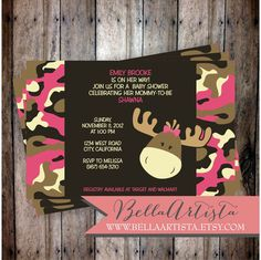 Pink & Girly Camouflage Moose Baby Shower Invitation -  Camo Hunting Invite for Baby Girl. $20.00, via Etsy.