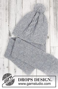 Set consists of: Knitted hat and scarf for kids. Size 2 - 12 years Set is knitted in DROPS Air. Big Chill, Knitting Patterns Free, Free Knitting, Baby Knitting, Free Pattern, Drops Design, Knitted Hats, Crochet Hats, Magazine Drops