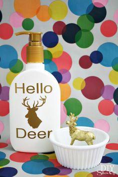DIY gift set tutorials: custom lotion bottle decal at DIYShowOff and ring holder at PrettyHandy Girl.